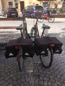 Our bikes with fully-packed 30-litre panniers!